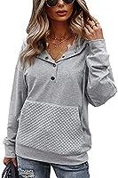 Spec4Y Pullover Damen Langarm V-Ausschnitt Oversized Hoodie Kordelzug Kapuzenpullover Lässig Sweatshirts mit Taschen