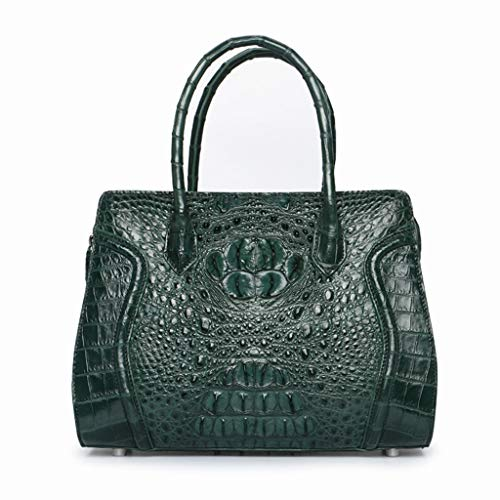 Shnnysany- Damen Handtasche aus echtem Krokodilleder Top Griff Tasche Vintage Tote Crossbody Umhängetasche Fashion Clutch, 4 Farben (Color : Green)