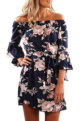 Yidarton Donna Vestito Stampa Fiore Senza spalline Mini Vestito Boho Beach Dress Abito Da Sera (L, blu scuro)