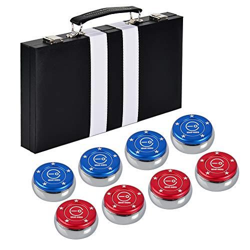 IdealEnjoy Shuffleboard-Pucks aus Edelstahl, mit Aluminiumkappen und Koffer, 8 Stück