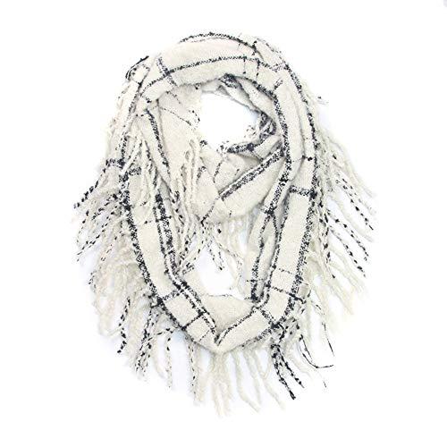 Amphia - Winter Warmer Karierter Ring Halswärmer Wrap Kragen Schal,Herbst- und Winterkaschmirschal für Damen(White)