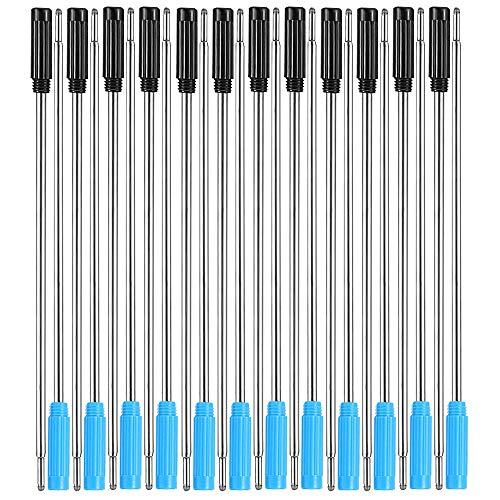 24 recambios de metal reemplazables para bolígrafo de punta media de 1,0 m para escritura suave, recambios de bolígrafo de tinta negra y azul para bolígrafos de cristal de diamante (4,5 pulgadas)