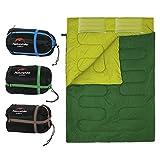 Saco de Dormir Portátil para 2 Personas Bolsa de Dormir de 4 Estaciones con Almohada para Camping Senderismo al Aire Libre ( Color : Ejercito verde )