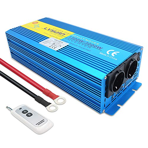 Cantonape 1500W/3000W Reiner Sinus Spannungswandler Wechselrichter 12V auf 230V Umwandler-Inverter Konverter mit 2 EU Steckdose und Kabellose Fernbedienung und LED-Anzeige