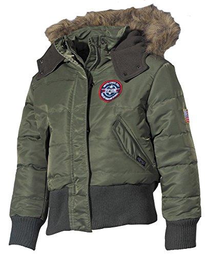 Kinder US N2B Polarjacke Jacke mit Fellkragen oliv S-XXL (122-176) 170/176,oliv
