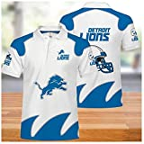 Polo T-Shirt Summer, NFL Jerseys with Detroit Lions Logo Design American Football Team Sportswear Rugby Jersey Fans Embroidered Casual Short Sleeve Unisex Rugby Polos (XXXXXL)