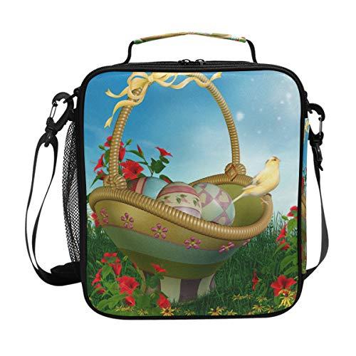 Bolsa de almuerzo aislada con diseño de pájaros de Pascua, cesta para el almuerzo, correa para el hombro, preparación de comidas para mujeres, hombres, muchacho, bolsa grande de oficina, escuela