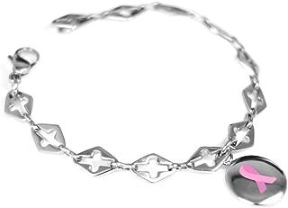 Custom Engraved Pink Breast Cancer Awareness Bracelet - 316L Steel