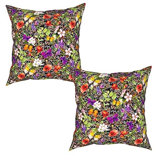 Gggo 2 Piezas Fundas de Cojines Flores en el Prado y Mariposas con diseño Decorativo patrón Floral repetido en Negro bac Suave Almohada Decorativo para Habitacion Sofá Dormitorio Oficina Sala-