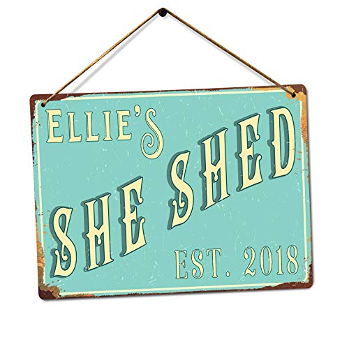 Personalised SHE SHED - Custom Name - Teal – Medium Twine | Printed Metal Wall Sign Plaque