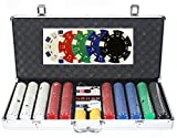 Innovative Online Products Poker Chip Set, Dice Style - 650 Pc. Used for All Card Games and Gambling with Carrying Case, Cards, 5 Dice, Dealer Button and 650-11.5 Gram Heavy Dice Style Casino Chips.