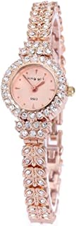 King Girl Royal Rose Gold Bracelet Watch Full Crystal Diamonds for Ladies Quartz Round