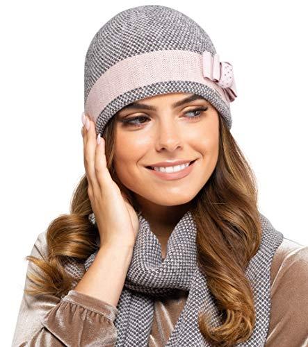 Kamea - Winterset Katalonia - Mütze mit passendem Schal - verschiedene Farbauswahl, Winter Set:Rosa