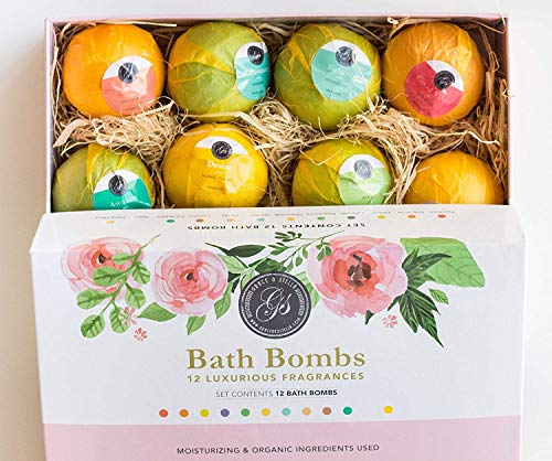 Grace & Stella Bath Bombs Variety Gift Set of 12 XL Assorted Fizzies (120g) - Individually Wrapped Bath Balls - Natural, Organic & Vegan w/Essential Oils...