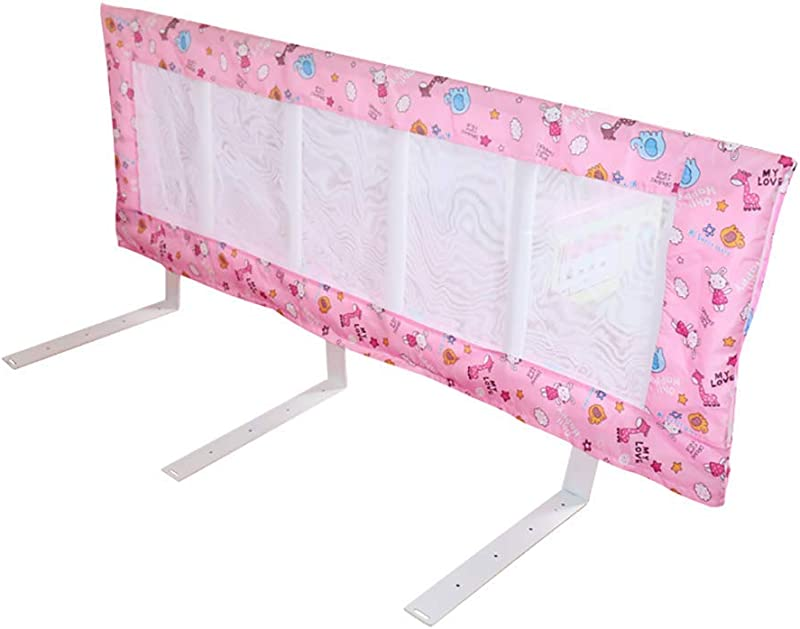 Lquide Bed Rail Bed Guardrail Baby With 8cm Base Easy Folding Bed Guardrail For Toddlers Large Size Child Bedrail With Washable Cloth Cover Color Pink Size 120 50CM
