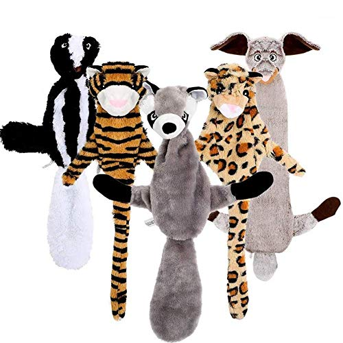 Dog Squeaky Toys, No Stuffing Dog Toys Set, Dog Chew Teething Toys, Stuffing Free Dog Chew Toy with Squirrel Rabbit Raccoon Leopard and Tiger Squeaky Plush Dog Toy for Small Medium Large Dogs 5 Pack