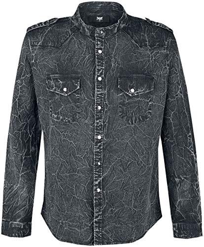 Black Premium by EMP Dunkelgraues Hemd mit Waschung und Schulterklappen Männer Langarmhemd anthrazit S