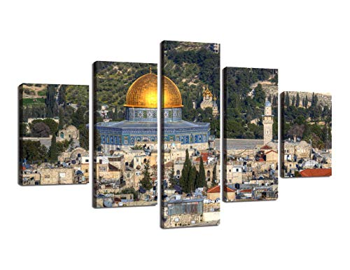 Large Dome of the Rock Printed Painting on Canvas 5 Panel Modern Wall Art Contemporary Artwork Prints Picture for Living Room Giclee Home Decor Gallery-wrapped Wooden Framed Ready to Hang(60''Wx32''H)