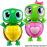 Two Adorable Inflatable Turtles 24' Each ~ TWO TYPES ~ 1 Boy Turtle & 1 Girl Turtle with Pink Bow ~ Party Favors/Decor/Giveaway/Decoration