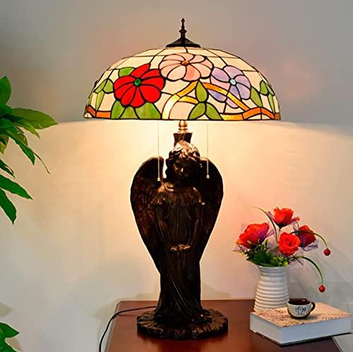BQFLZY Lámpara de Mesa de vidrieras Pastoral Mañana de la mañana Lámpara de Escritorio de Estilo Tiffany Lámparas de Mesa para Sala de Estar Dormitorio Cafetería Oficina 20 Pulgadas