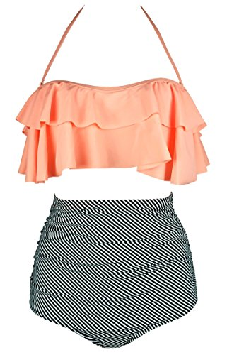 COCOSHIP Orange Pink & Black Striped Retro Boho Flounce Falbala High Waist Bikini Set Chic Swimsuit Bathing Suit XXXL(US14)