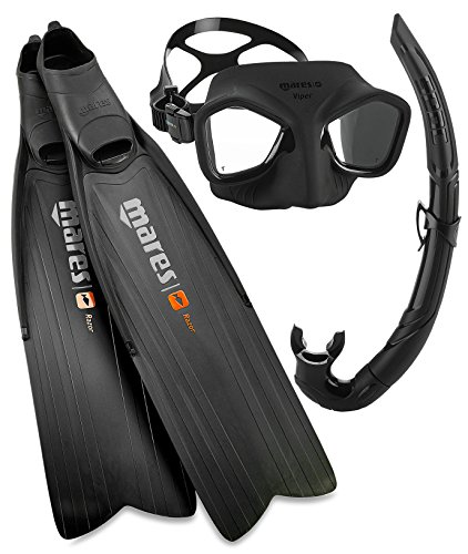 Mares Razor Pro Spearfishing Freediving Mask Fin Snorkel Set, All Black, Size 12/13 (47/48)
