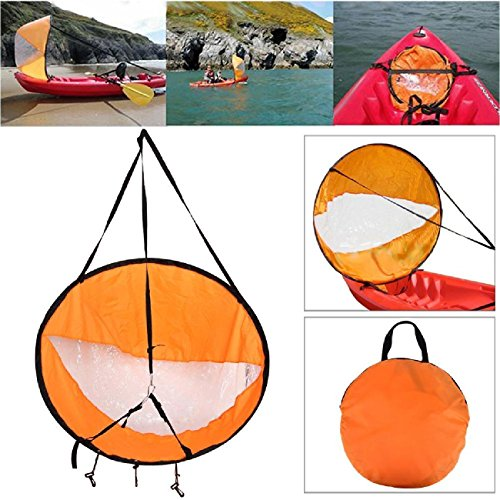 Kayak Sails,42' Durable Downwind Wind Sail Sup Paddle Board Instant Popup for Kayak Boat Sailboat Canoe Foldable Style (Orange)