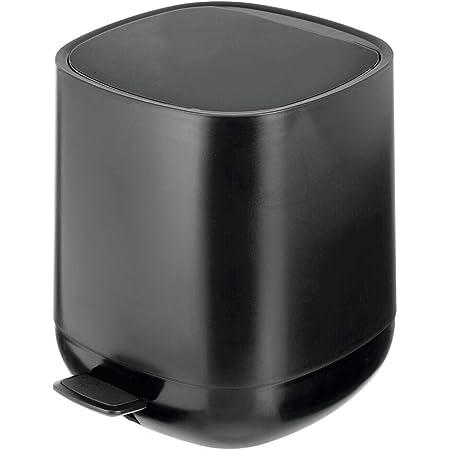 mDesign Small Round Step Trash Can Garbage Bin Orange//Light Gray