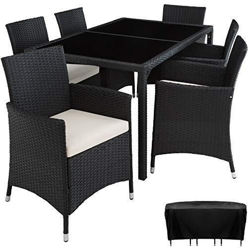 TecTake 800325 - Poly Rattan Sitzgruppe, 6 Stühle mit Sitzkissen, 1 Tisch mit 2 Glasplatten, inkl. Schutzhülle - Diverse Farben - (Schwarz | Nr. 402058)