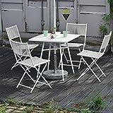 Bistro Set mesa y sillas de patio, Juego de bistró de muebles de jardín de ratán PE Juego de café al aire libre del patio, 2 sillas plegables de tejido de mimbre y 1 mesa, Fácil de plegar