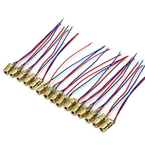 CESFONJER 15 PCS Diodo Laser Head | mini moduli a diodi laser a 1 punto da 650 nm, 5 mW, 5 V per la prototipazione di Arduino Raspberry Pi