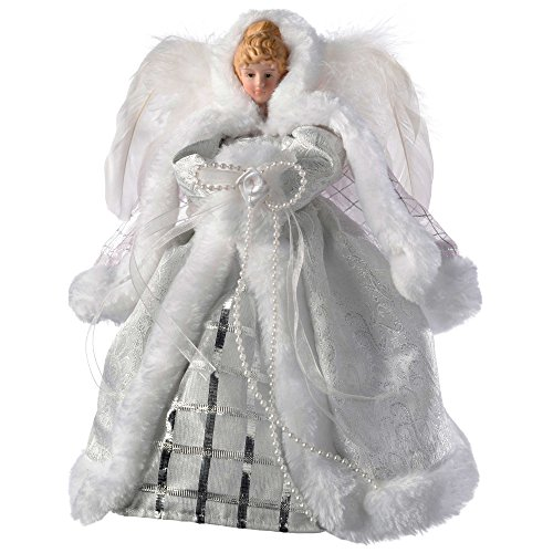 WeRChristmas Angel Christmas Tree Topper with Feather Wings, 26 cm - White/Silver