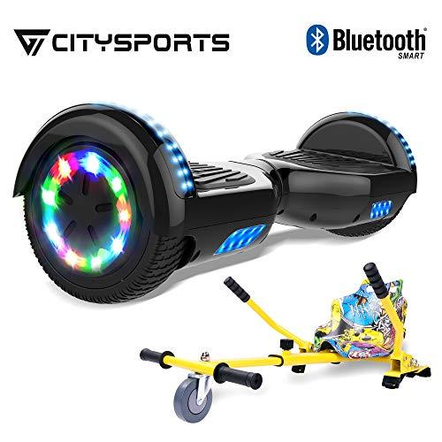 CITYSPORTS BalanceBoard6,5Zoll,HoverBoard+Hoverkart,SelfBalanceScooterElektroroller,RädermitLED-Beleuchtung,Bluetooth,700-W-Motor (Hover-08)