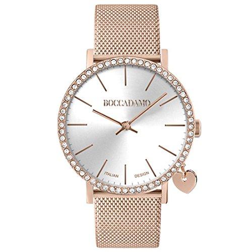 Boccadamo Uhr Armbanduhr Rosato, Swarovski und Charm Herz MX007