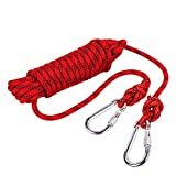 Outdoor Rock Climbing Safety Rope 10M(32ft)/15M(49ft)/20M(64ft)/30M(98ft) with Hooks,Diameter 8mm(0.03ft),9KN(900kg),for Outdoor Escape Rope, Camping Hiking Rope, Fire Rescue Parachute (Red, 15m)