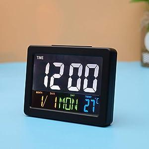 CAODANDE LED Numérique Alarme Électronique LCD Affichage Calendrier Multifonction Horloge Bureau Cadeau Maison Grande Température Réveil (Color : Black)