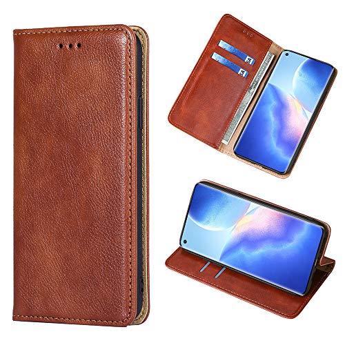 Yiunssy Leder Handyhülle für Oppo Find X3 Neo 5G Hülle, Premium PU Leder Magnetische Automatische Adsorption Brieftasche Schutzhülle Flip Handyhülle für Oppo Find X3 Neo 5G Flip Hülle, Braun