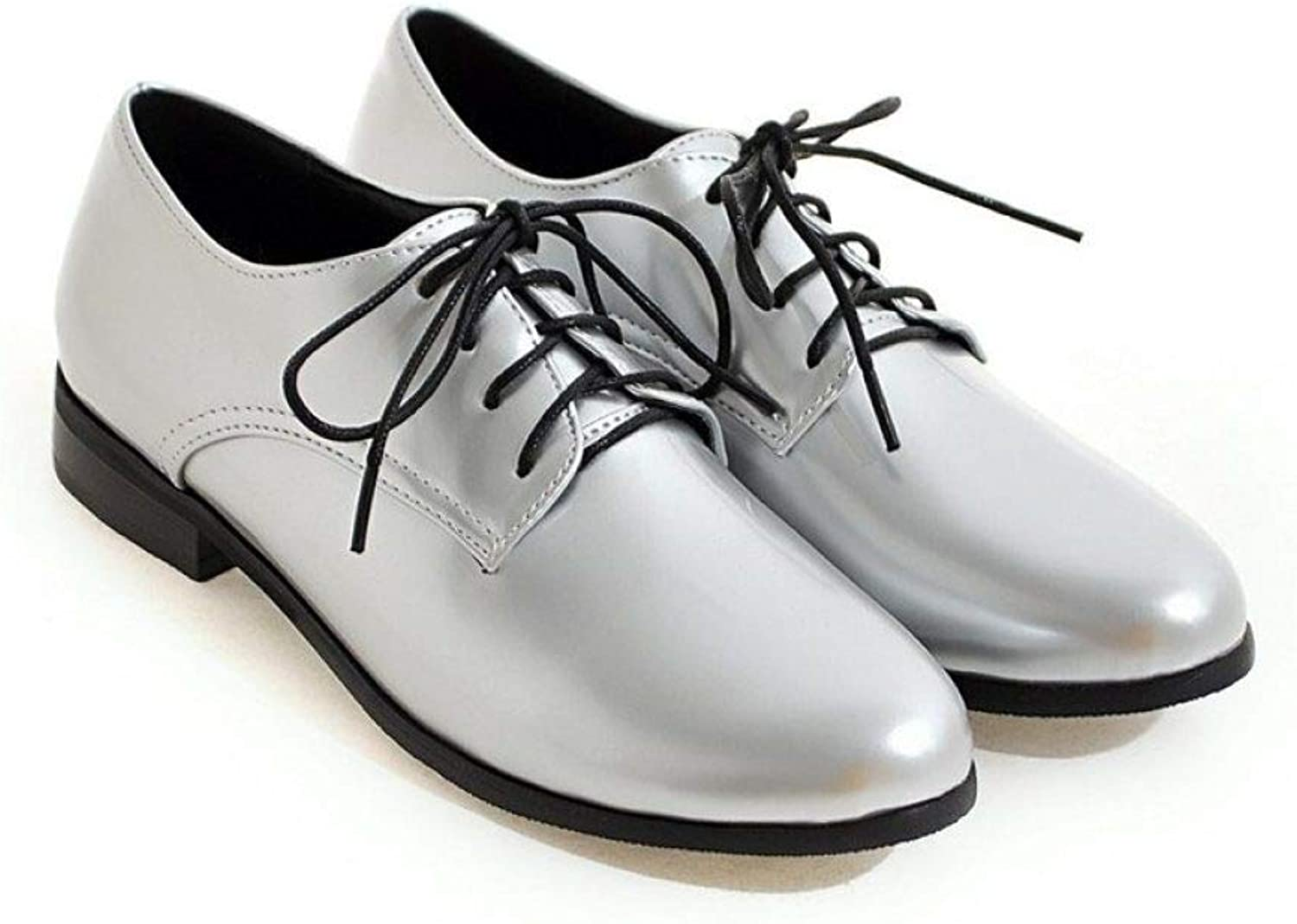 Women's Patent Leather Flat Oxfords Lace Up Round Toe Plain Tone Fashion Dress shoes