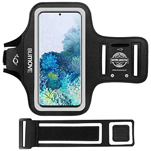 Galaxy S20 FE, S20 Plus, S10 Plus, S9 Plus Armband, BUMOVE Gym Running Workouts Sports Cell Phone Arm Band for Samsung Galaxy S20 Fe/S20+/S10+/S9+ with Key Holder (Black)