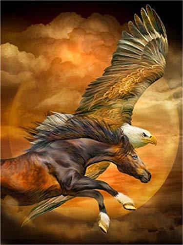 Olieverfschilderij om zelf te maken Flying Horse and Eagle decoratie van het huis, handgeschilderd olieverfschilderij, 40 x 50 cm
