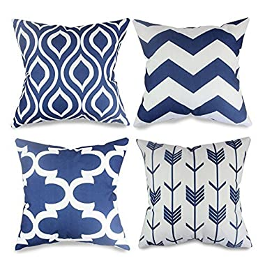popeven 4 Packs Navy Blue Throw Pillows Home Decor Design Pillow Covers for Living Room Square Cushion Covers 18 Inch