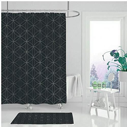 XCBN Einfaches geometrisches Muster Bad Duschvorhang, wasserdicht und schimmelresistent waschbar Bad dekorative Duschvorhang A25 150x200cm