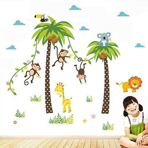 DINGDONG ART Pegatinas De Pared Bosque Mono ÁrbolCielo KoalaHabitaciones De Niños Decoración del Hogar Animales De Dibujos Animados Tatuajes De Pared PVC Arte MuralDecoración del Hogar