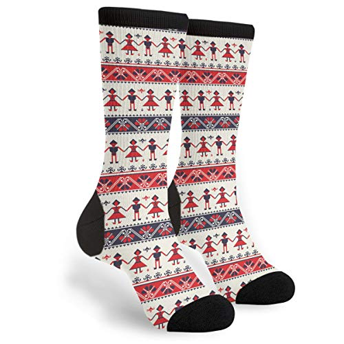 Traditional Romanian Folk Motif Fun Dress Socks Funny Novelty Fashion Crew Socks