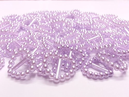 CraftbuddyUS 100 Lilac Acrylic Heart Ribbon Slider Buckles for Wedding Invitations, Card Craft