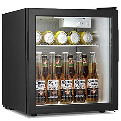 Antarctic Star Beverage Refrigerator Cooler - 60 Can Mini Fridge Glass Door for Soda Beer or Wine – 32°F- 61°F Small Drink Dispenser Machine Adjustable Removable for Home, Office or Bar, 1.6cu.ft.