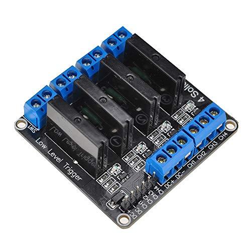 ARCELI 5V Módulo de relé de Estado sólido de 4 Canales con Fusible para Arduino Uno Duemilanove MEGA2560 MEGA1280 Arm DSP PIC