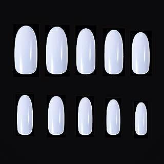600 PCS Acrylic False Nails, MelodySusie Full Cover Oval Nail Tips Natural Acrylic Fake Nails 10 Sizes for Nail Salons and DIY Nail Art