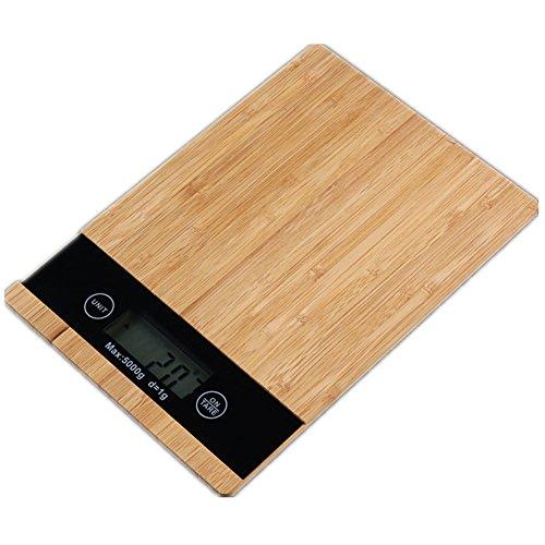 NEMISO デジタルスケール 電子秤 デジタル はかり クッキングスケール キッチンスケール コンパクト 小型 超薄型 液晶 ディスプレイ 風袋引き機能 オートオフ機能 1g 5kg 高精度 果物 野菜 料理用 測量 計量 単四電池タイプ 竹製