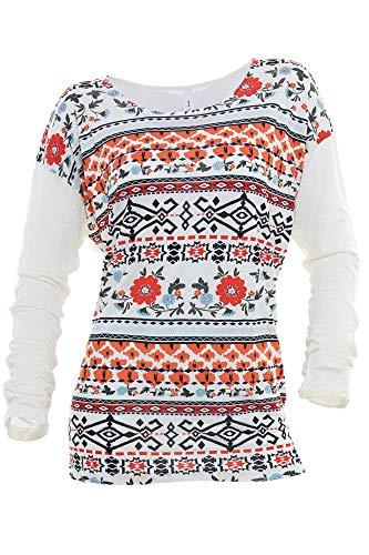 Sheego Longsleeve T Shirt Damen Langarm Viskose, Farbe:weiß;Damengrößen:52